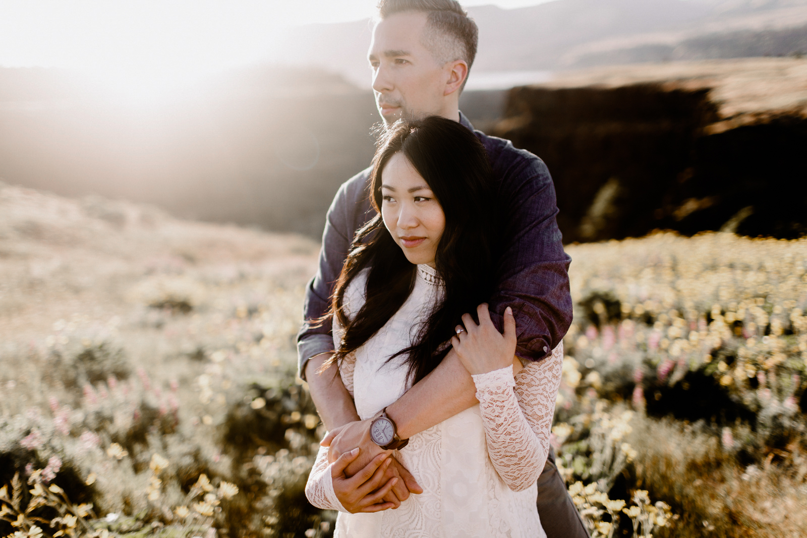 Columbia River Gorge Engagement Portland Oregon Wedding Free People Anthropology Sunset Hike